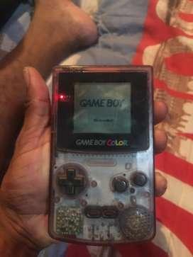 Nintendo game boy color edicion trasparente con tres juegos