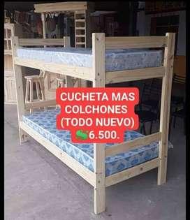 CUCHETA NUEVA MAS DOS COLCHONES NUEVOS!!!