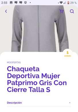 Chaqueta deportiva de mujer patprimo gris  con cierre talla S