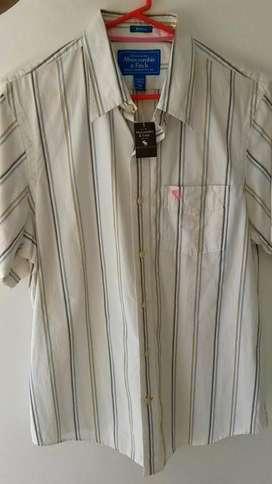 Camisa Abercrombie Blanca a Rayas Amarilla y Azul Nueva Talla XL