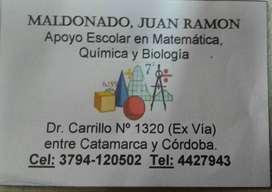 APOYO ESCOLAR en Matematica, Quimica y Biologia