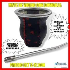 SET MATE ARGENTINO! MATE DE VIDRIO FORRADO EN ECOCUERO CON VIROLA DE ALUMINIO con BOMBILLA RESORTE NIQUELADA! ULTIMOS !