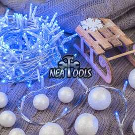 Guirnalda Luces Led x 100 Azul Cable Trasparente 7 Metros
