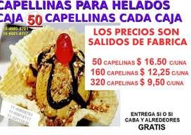 CAPELINAS PARA HELADOS PROD NACIONAL