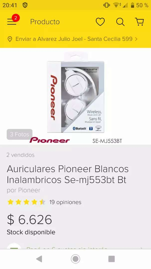 Auriculares Pionner Inalámbricos SE MJ553BT Nuevos 0