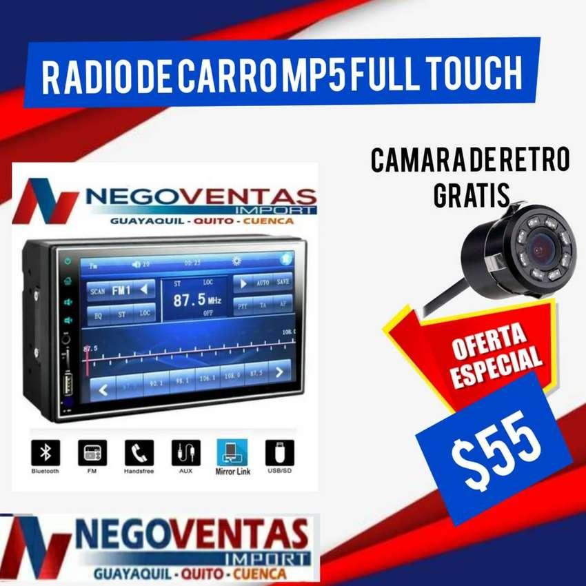 RADIO DE CARRO DOBLE DIN MP5 FULL TOUCH MAS CAMARA DE RETRO GRATIS