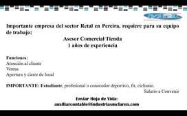 Asesor Comercial Tienda