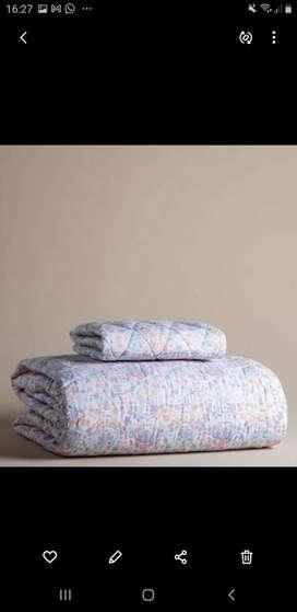 Cubrecamas - Cobertor Reversible Flores Om  Color Coral De 1 Plaza.