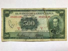 Billete 500 Pesos Oro COLOMBIA 1968