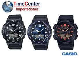 Reloj Casio Digital, Analógico, Hora Mundial Para Hombre AEQ-110W-