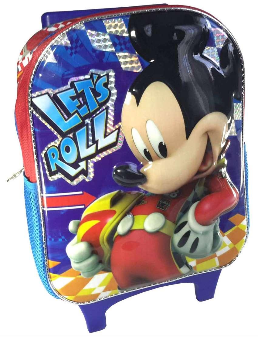 Bolso Morral Infantil Disney Mickey Mouse Niño Relieve Rojo 0