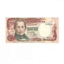 Billete De 500 Pesos Oro De Colombia Con Envio Gratuito