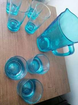 Juego de jarra y vasos en cristal Nuevo