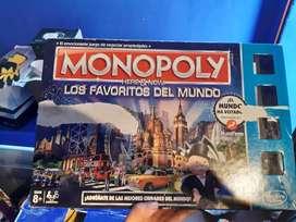 YH JUEGO DE MESA MONOPOLY LOS FAVORITOS DEL MUNDO SEMI NUEVO CAMBIO
