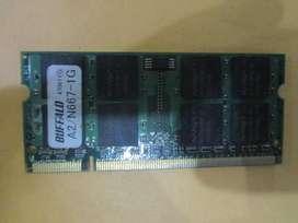 MEMORIA RAM BUFFALO DE 1GB ( DDR2 - PC2 - A2 - N667 ) PARA LAPTOP - ORIGINAL