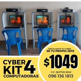 CYBER KIT 4 COMPUTADORAS a tan solo $1049 con GARANTIA de 1 año + increibles OBSEQUIOS !