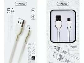 Cable Usb  A Micro Usb 1 Mts Blanco Carga Rapida