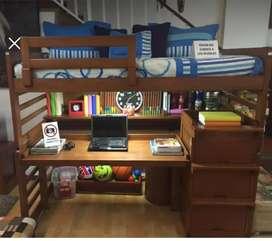 Cama escritorio más colchón con cajones en la escalera