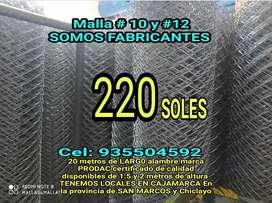 MALLAS GALVANIZADAS A 220 SOLES ROLLO DE 20 METROS DE LARGO