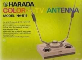 Harada HA-511 Antigua antena interior para TV analógica B/N y Color Sin uso En caja original De colección