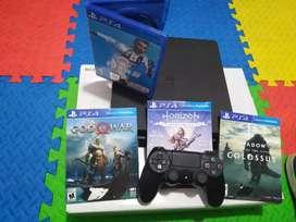 Playstation 4 slim con 4 fabulosos juegos  y un control una tera