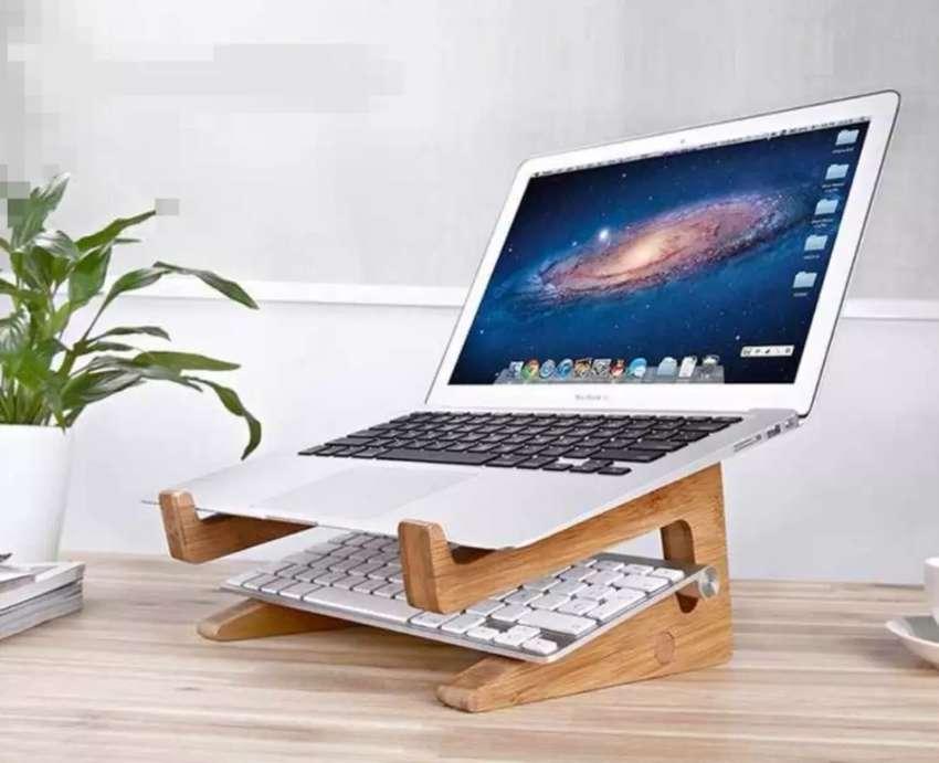 Base inclina laptop de madera ergonómico 0
