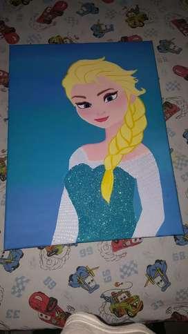Vendo lienzo con pintura de Elsa en Acrilico profesional