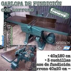 GARLOPA DE FUNDICIÓN 40X180 cm CON BARRENO (máquina carpintería canteadora fábrica mueble escoplo)