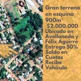 Terreno amplio en esquina 50% FINANCIADO
