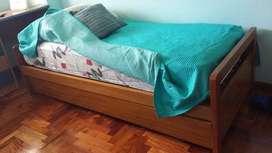 3 camas de una plaza en juego de roble macizo
