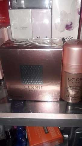Perfume ccori rose o dorado con desodorante