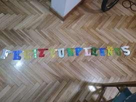 Feliz Cumpleaños Letras 155 X 12 Cms