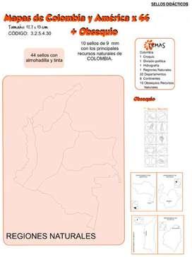 Sellos Didácticos Mapas De Colombia Y América X 44 obsequio novedades