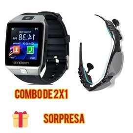 Reloj inteligente tipo Samsung + Gafas Bluetooth