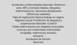 Estudio jurídico especialista en derecho laboral. Familia y civil.