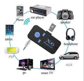 Adaptador Bluetooth X6 con Plug - Jack 3.5mm para Carro, Tablet, , Automovil,  EquiPO, ETC