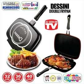 Sartén Doble Parrilla TV De 32 cms, 36 cms y 40 cms, Antiadherente, Tecnologia Italiana, Nuevos, Garantizados