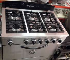 Cocina 6 hornallas 90 cm de frente