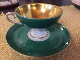 Pocillode cafe de porcela Verbano Auntentico: oro y Cobalto