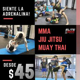 Entrenamiento de artes marciales mixtas mma , muay thai , jiu jitsu , defensa personal