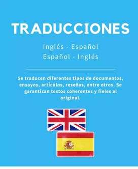Traducciones Inglés -  Español, Español - Inglés