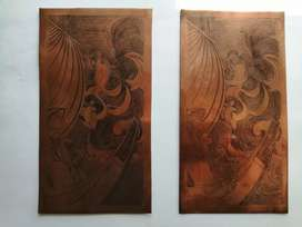 Figuras buriladas orientales en lámina de cobre