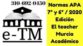 Normas APA 7° - 7ma - séptima - 6ta - sexta - 6° edición 2020.  Corrección de estilo: ortografía y ortotipografía.