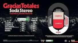 SE VENDE TICKET PARA SODA STEREO GRACIAS TOTALES CAMPO A