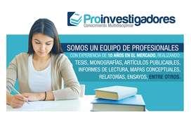 Asesoría Tesis, trabajos de grado, artículos publicables
