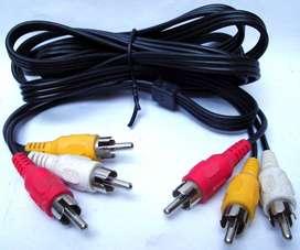 Cable 3 Rca Macho 1,40 / 1,20mts.audio Video Nuevos