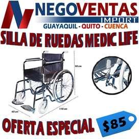 SILLA DE RUEDAS PLEGABLE SUPER RESISTENTE SOPORTA 250 LIBRAS