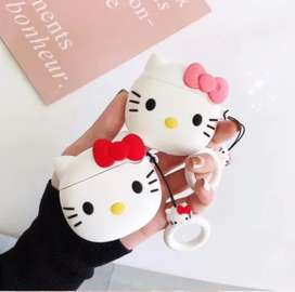 Funda Case Protector AirPods Audifonos Hello Kitty Sujetado