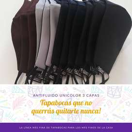 SETX3 Tapabocas Lavable Folklores Hombre Unicolor Talla S, M,L, XL