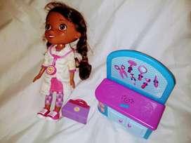 dra juguete interactivo consultorio+muñeca+3 muñecos+cartera importad